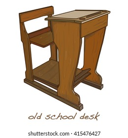 school desk vintage vector illustration