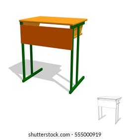 School desk.Isolated on white background. 3d Vector illustration.