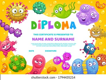 School diploma, vector certificate template with funny germs characters, cartoon education frame for kindergarten. Baby border design with cute bacteria, cells and comic viruses with smiling faces