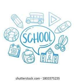 School Doodle Line Art Illustration. Hand Drawn Vector Clip Art. Banner Set Logos.