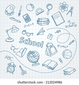 School doodle on notebook page vector background file