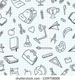 School doodle seamless pattern with book, pencil, globe, bag, ruler, and study lamp drawing vector illustration.