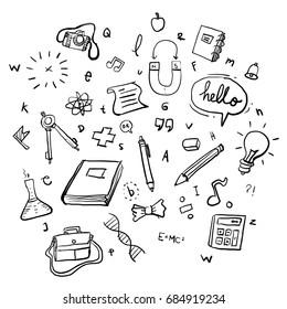 School Doodle Vector Art Illustration Background