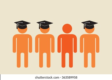 school dropout standing with people in graduation caps