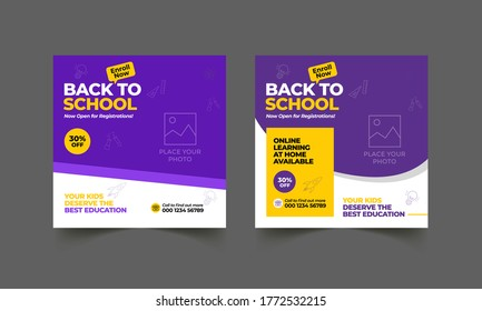 School education admission social media post & back to school web banner template or square flyer poster