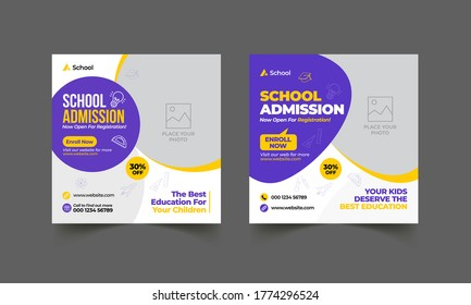 School education admission social media post template & back to school web banner or square flyer poster