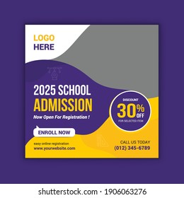 School education admission social media post and web banner template. Junior and senior school admission promotion banner.
