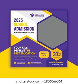 School education admission social media post and web banner template. Junior and senior school admission promotion banner. School admission web banner template.