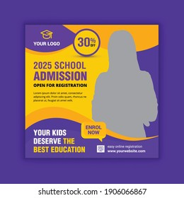 School education admission social media post and web banner template. School admission background. School admission web banner template.