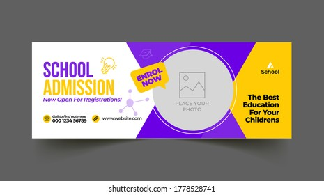 School education admission timeline cover and web banner template