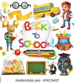 School and education. Back to school. 3d vector icon set.