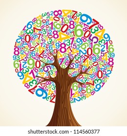 School education concept tree made with numbers. Vector file layered for easy manipulation and custom coloring.