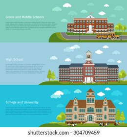 School education, high school and university study banners. Student and campus, graduation and architecture construction building, vector illustration
