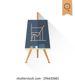 School and Education Icon - Flipchart. Vector. Flat design style