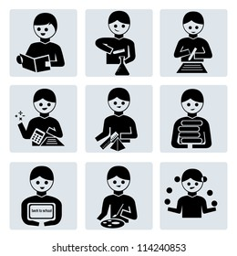 school, education icon set, avatar set, student action set
