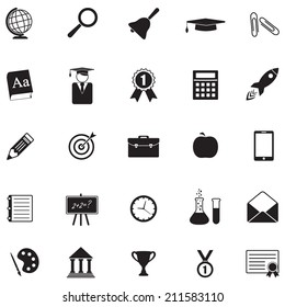 School and Education Icon set for science, knowledge, reading, math, chemistry, geography. Vector illustration with teaching and learning symbol and object. Isolated on white background.