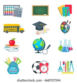 School education icons collection vector illustration in fat style