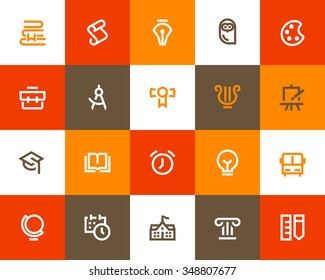 School and education icons. Flat series