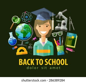 school, education icons set. collection of elements - college student, microscope, compass, schoolbook, glasses, globe, magnifier, bulb, pencil case, stationery products