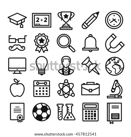 School Education Icons Set Thin Line Stock Vector Royalty Free