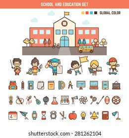school and education infographics elements for kid including characters , building and icons