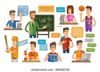 school, education or learning icons set. vector illustration