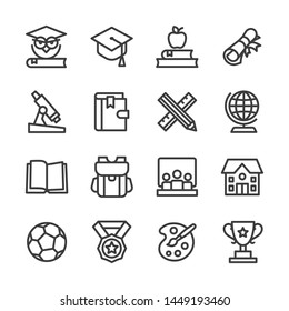 School and education line icon set vector