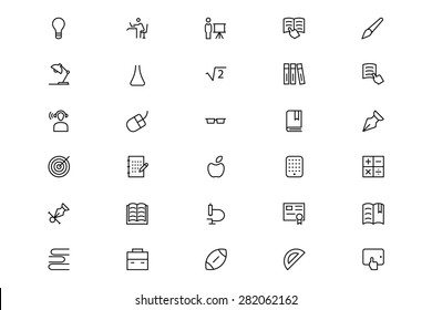 School and Education Line Vector Icons 3