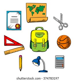 School and education objects icons with backpack, basketball ball, lamp, ruler, pencil, calculator, earth globe, scissors, map and diploma
