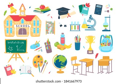 School and education objects isolated on white vector flat illustration. School supplies and accessories. Pencil, pen, desk, students notebook and schoolhouse, bag, calculator, globe and flasks.