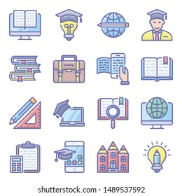 School education portraying flat icons for educational and academic projects.