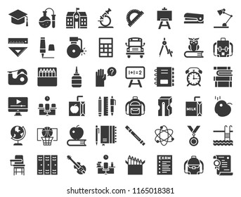 school and education related icon set, glyph design such as school bus, sharpener, chalkboard, owl, stack of books, staple, swimming pool, experiment