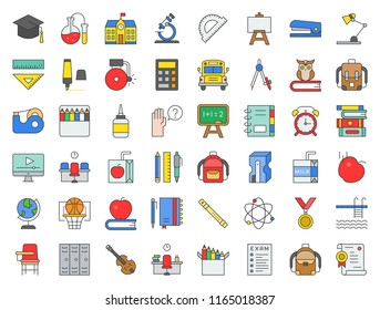 school and education related icon set filled outline design such as school bus, sharpener, chalkboard, owl, stack of books, staple, swimming pool, alarm clock