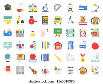 school and education related icon set in flat design such as school bus, sharpener, chalkboard, owl, stack of books, staple, swimming pool, flute