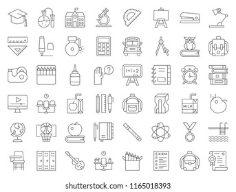 school and education related icon set such as school bus, sharpener, chalkboard, owl, stack of books, staple, swimming pool, editable stroke
