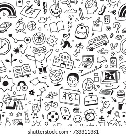 school education - seamless vector background with doodle icons
