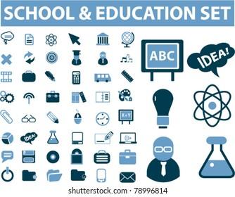 school & education set, vector