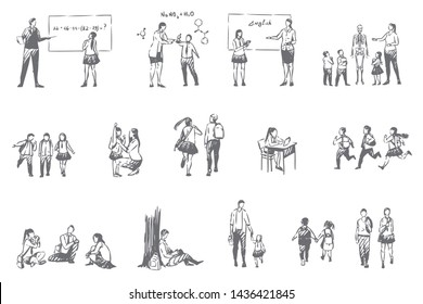 School education, student life concept sketch. Pupils and teachers, math, chemistry, english and biology lessons, little schoolkids and teenagers, studying routine set. Isolated vector illustration