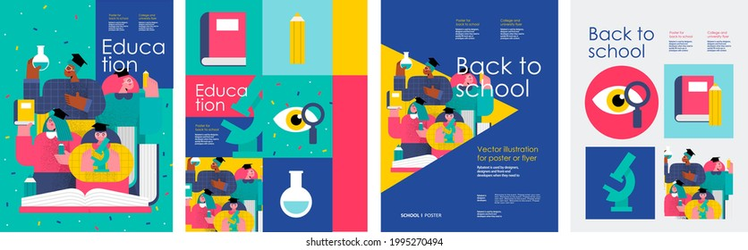 School and education. Vector abstract geometric illustration of students, schoolchildren, stationery, for poster, background or cover. Back to school.
