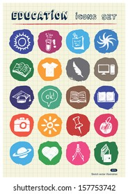 School and education web icons set drawn by chalk. Hand drawn vector elements pack isolated on paper
