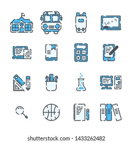 School Elements filled outline icon set on white background.