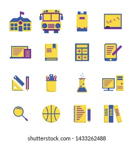 School Elements flat icon set on white background.