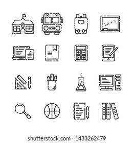 School Elements outline icon set on white background.