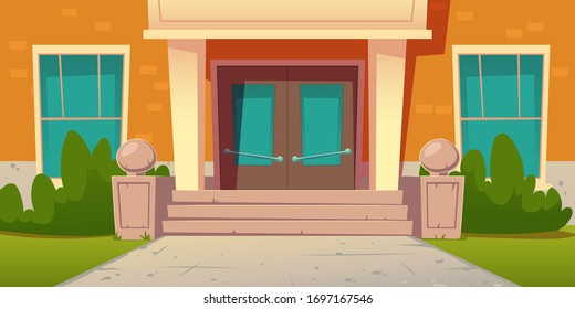 School entrance, building of college campus. Educational institution facade exterior with wooden doors, stone stairs, glass windows, green plants and lawn at front yard, Cartoon vector illustration