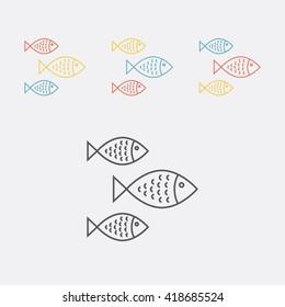 School of fish line icon.