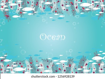 School of fish are swimming beside seaweed under the sea frame background vector for decoration on summer and Christmas summer events.