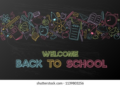 School flyer with cute hand drawn accessories. Vector.