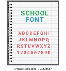 School font, the alphabet in the notebook on the sheet for entries, the vector for the holiday day of knowledge 1 September