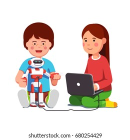 School friends boy & girl setting up modern programmable humanoid robot connected to laptop computer. Kids learning engineering experimenting with project together. Flat vector illustration.