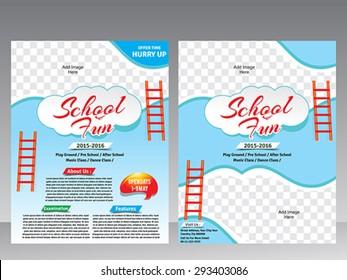 School fun flyer & magazine design template vector illustration